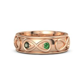 18K Rose Gold Ring with Green Tourmaline and Emerald