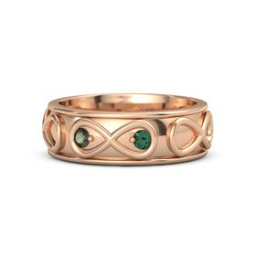 18K Rose Gold Ring with Green Tourmaline and Alexandrite