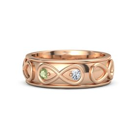 18K Rose Gold Ring with Peridot & Diamond