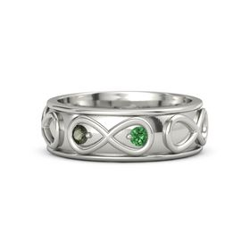 18K White Gold Ring with Green Tourmaline & Emerald