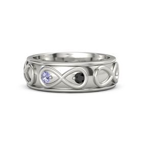 18K White Gold Ring with Tanzanite and Black Diamond