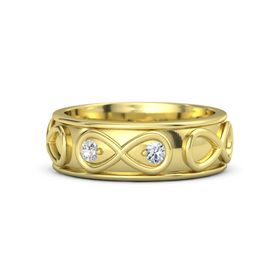 18K Yellow Gold Ring with White Sapphire and Diamond