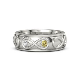 Platinum Ring with White Sapphire and Yellow Sapphire