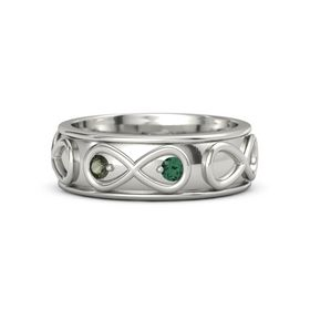 Platinum Ring with Green Tourmaline & Alexandrite