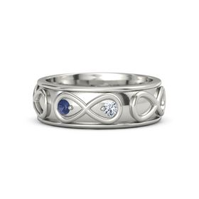 Platinum Ring with Blue Sapphire and Diamond