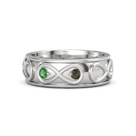Sterling Silver Ring with Emerald and Green Tourmaline