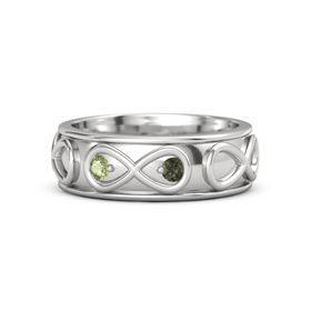 Sterling Silver Ring with Peridot and Green Tourmaline