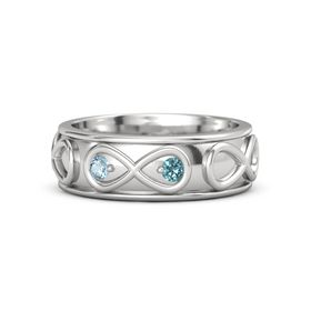 Sterling Silver Ring with Aquamarine and London Blue Topaz