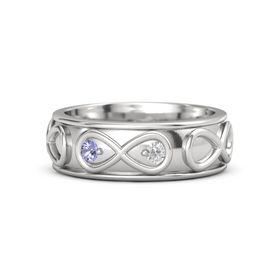 Sterling Silver Ring with Tanzanite & White Sapphire