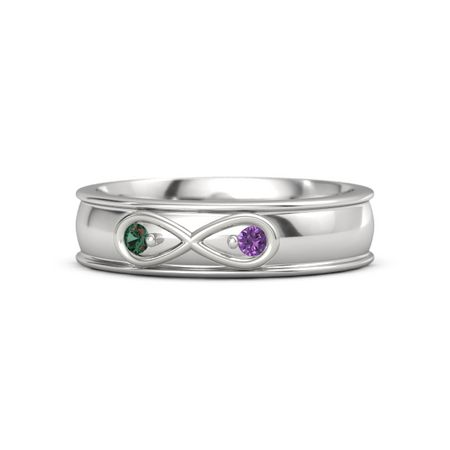 Sterling Silver Ring With Alexandrite Amethyst Infinite Love