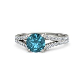Round London Blue Topaz 18K White Gold Ring with Diamond