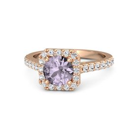 Round Rose de France 14K Rose Gold Ring with White Sapphire