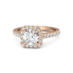 Round Rock Crystal 14K Rose Gold Ring with White Sapphire