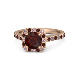 Round Red Garnet 14K Rose Gold Ring with Rhodolite Garnet and Red Garnet