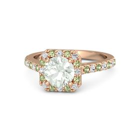 Round Green Amethyst 14K Rose Gold Ring with White Sapphire & Peridot