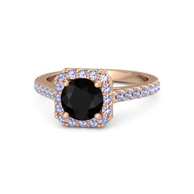 Round Black Onyx 14K Rose Gold Ring with Tanzanite