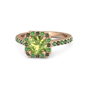 Round Peridot 14K Rose Gold Ring with Green Tourmaline and Emerald