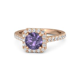 Round Iolite 14K Rose Gold Ring with White Sapphire