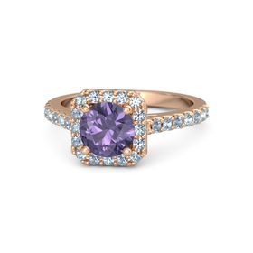 Round Iolite 14K Rose Gold Ring with Aquamarine and Blue Topaz