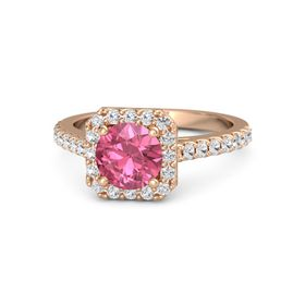 Round Pink Tourmaline 14K Rose Gold Ring with White Sapphire