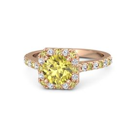 Round Yellow Sapphire 14K Rose Gold Ring with Yellow Sapphire and White Sapphire