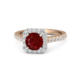 Round Ruby 14K Rose Gold Ring with White Sapphire