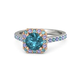 Round London Blue Topaz 14K White Gold Ring with London Blue Topaz and Iolite