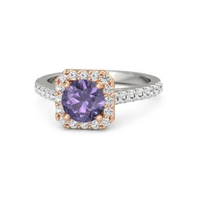 Round Iolite 14K White Gold Ring with White Sapphire