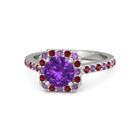 Round Amethyst 14K White Gold Ring with Amethyst & Ruby