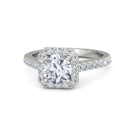 Round Moissanite 14K White Gold Ring with Diamond