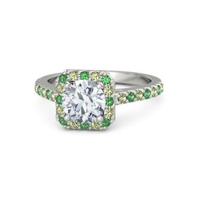 Round Moissanite 14K White Gold Ring with Emerald and Peridot