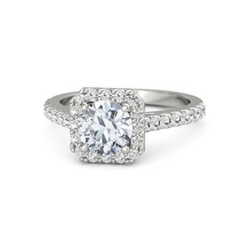 Round Moissanite 14K White Gold Ring with White Sapphire