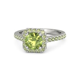 Round Peridot 14K White Gold Ring with Peridot