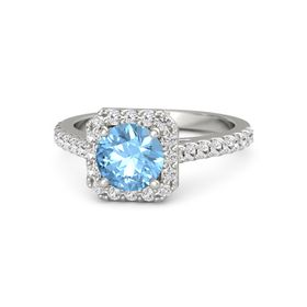 Round Blue Topaz 14K White Gold Ring with White Sapphire