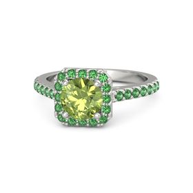 Round Peridot 14K White Gold Ring with Emerald