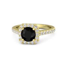 Round Black Onyx 14K Yellow Gold Ring with White Sapphire