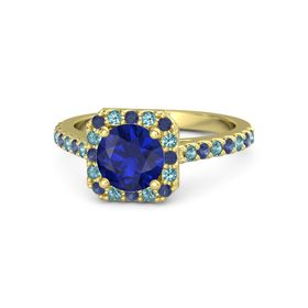 Round Blue Sapphire 14K Yellow Gold Ring with Blue Sapphire and London Blue Topaz