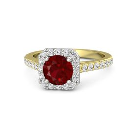 Round Ruby 14K Yellow Gold Ring with White Sapphire