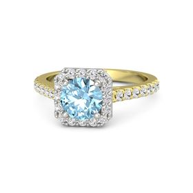 Round Aquamarine 14K Yellow Gold Ring with White Sapphire