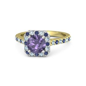 Round Iolite 14K Yellow Gold Ring with Blue Sapphire and Aquamarine