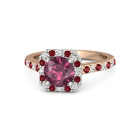 Round Rhodolite Garnet 18K Rose Gold Ring with White Sapphire & Ruby
