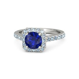 Round Blue Sapphire 18K White Gold Ring with Aquamarine and Blue Topaz