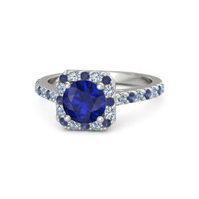 Round Blue Sapphire 18K White Gold Ring with Blue Sapphire and Blue Topaz