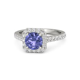 Round Tanzanite 18K White Gold Ring with White Sapphire