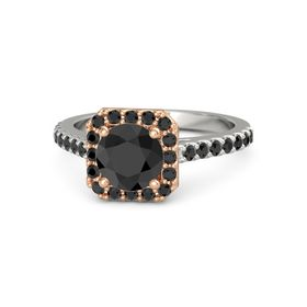 Round Black Diamond Palladium Ring with Black Diamond