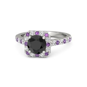 Round Black Diamond Palladium Ring with Amethyst and White Sapphire