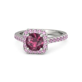 Round Rhodolite Garnet Palladium Ring with Pink Tourmaline