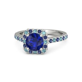 Round Blue Sapphire Palladium Ring with London Blue Topaz and Blue Sapphire