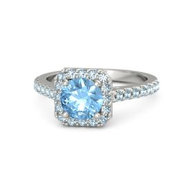 Round Blue Topaz Palladium Ring with Aquamarine