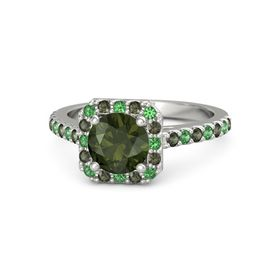 Round Green Tourmaline Palladium Ring with Emerald & Green Tourmaline
